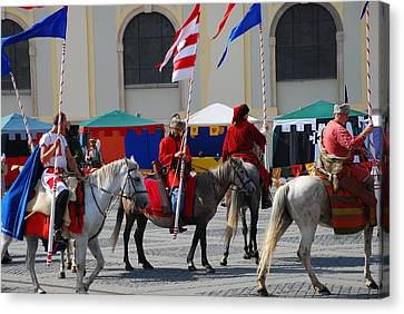 Medieval Knights Parade Canvas Print by Adrian Bud