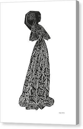 Medieval Lady Brass Rubbing  Canvas Print by Shelagh Watkins