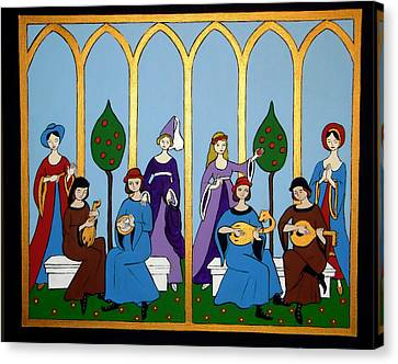 Canvas Print featuring the painting Medieval Musicians by Stephanie Moore