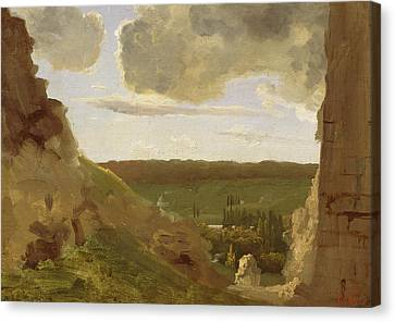 Medieval Ruins Canvas Print by Jean Baptiste Camille Corot