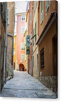 Medieval Street In Villefranche-sur-mer Canvas Print by Elena Elisseeva
