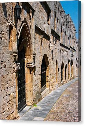 Medievil Town In Rhodes Canvas Print by Sandra Bronstein