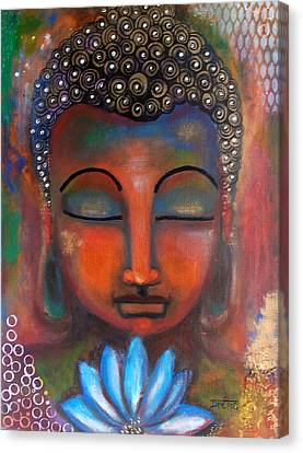 Canvas Print featuring the painting Meditating Buddha With A Blue Lotus by Prerna Poojara
