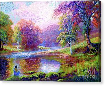 Figurative Canvas Print - Meditating On The Eternal Now by Jane Small