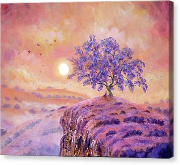 Meditating Under A Jacaranda Tree Canvas Print by Laura Iverson