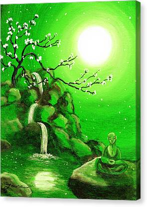 Meditating While Cherry Blossoms Fall In Green Canvas Print by Laura Iverson