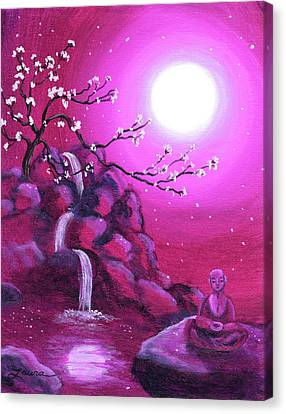 Meditating While Cherry Blossoms Fall Canvas Print by Laura Iverson