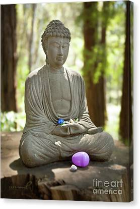 Canvas Print featuring the photograph Meditation Buddha With Offerings by Carol Lynn Coronios