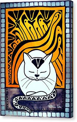 Meditation - Cat Art By Dora Hathazi Mendes Canvas Print