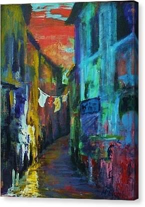 Mediterranean Dusk Canvas Print by Margaret  Plumb