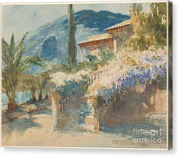Mediterranean Garden Scene Canvas Print by Celestial Images