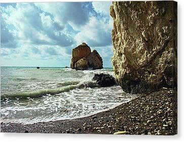 Mediterranean Sea, Pebbles, Large Stones, Sea Foam - The Legendary Birthplace Of Aphrodite Canvas Print