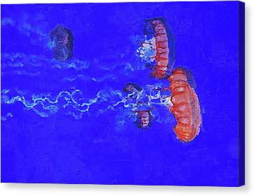 Canvas Print featuring the digital art Medusas Jellyfishes by PixBreak Art