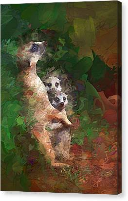Meerkat Mom And Pups Canvas Print by Elaine Plesser