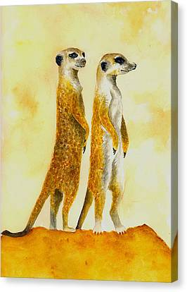 Meerkats Canvas Print by Michael Vigliotti