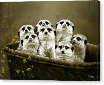 Canvas Print featuring the digital art Meerkats by Thanh Thuy Nguyen