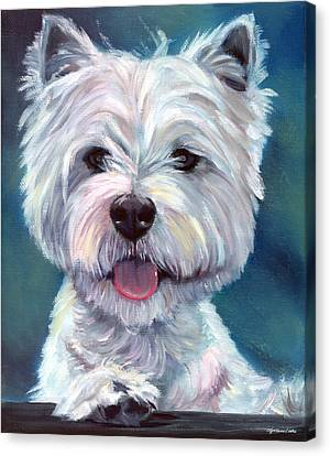 Meet And Greet - West Highland Terrier Canvas Print by Lyn Cook