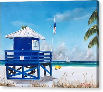Meet At Blue Lifeguard Canvas Print