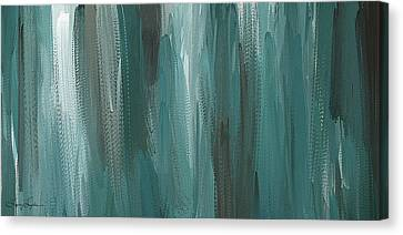 Meet Halfway - Teal And Gray Abstract Art Canvas Print by Lourry Legarde