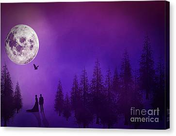 Woman And Owl Canvas Print - Meet Me At The Clearing  by KaFra Art
