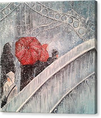 Halfpenny Bridge Canvas Print - Meet Me At The Hapenny Bridge by Pauline McCarville