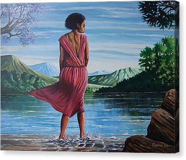 Canvas Print featuring the painting Meet Me At The River by Anthony Mwangi
