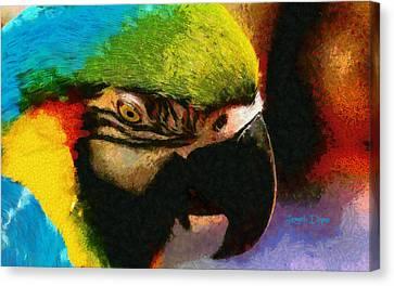 Peafowl Canvas Print - Meet The Brazilian Arara by Leonardo Digenio