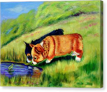 Meeting Mr. Frog Corgi Pups Canvas Print by Lyn Cook