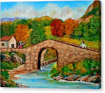 Meeting On The Old Bridge Canvas Print by Constantinos Charalampopoulos