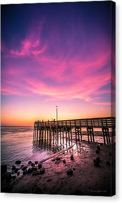 Meeting On The Pier Canvas Print by Marvin Spates