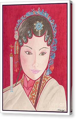 Mei Ling -- Portrait Of Woman From Chinese Opera Canvas Print