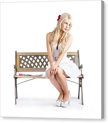 Melancholic Woman All Alone On Bench Chair Canvas Print by Jorgo Photography - Wall Art Gallery