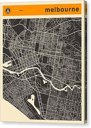 Melbourne Map Canvas Print by Jazzberry Blue