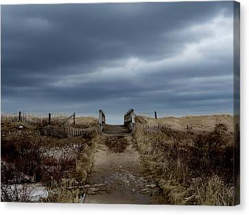 Canvas Print featuring the photograph Melmerby Beach Boardwalk by Kathleen Sartoris