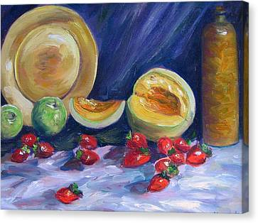 Melons With Strawberries Canvas Print by Richard Nowak