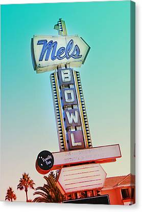 Mels Bowl Retro Sign Canvas Print by Kathleen Grace