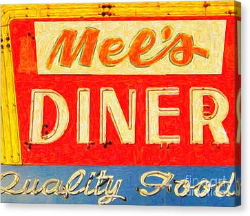 Mels Diner Canvas Print by Wingsdomain Art and Photography