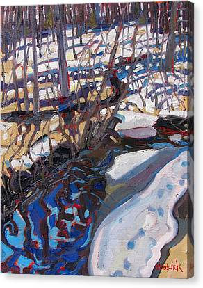 Snow Melt Canvas Print - Melt Water And Ice At The Forest Edge by Phil Chadwick