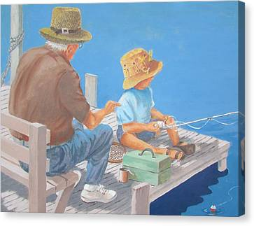 Canvas Print featuring the painting Memorable Day Fishing by Tony Caviston