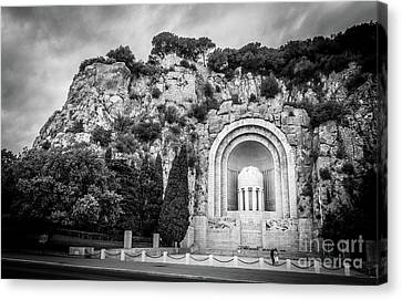 Memorial On Castle Hill In Nice, Black And White Canvas Print by Liesl Walsh