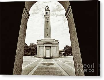Memorial Tower Thru The Archway - Sepia Canvas Print