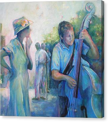 Memories -  Woman Is Intrigued By Musician.  Canvas Print by Susanne Clark