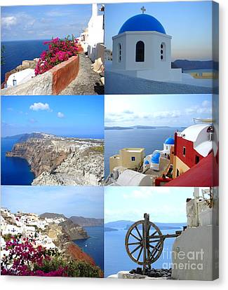 Canvas Print featuring the photograph Memories From Santorini by Ana Maria Edulescu