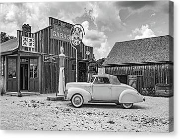 Car Repairs Canvas Print - Memories Of A Simpler Time 2 Bw by Steve Harrington