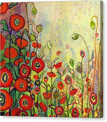 Hollyhock Canvas Print - Memories Of Grandmother's Garden by Jennifer Lommers