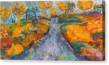 Canvas Print featuring the painting Memories Of Home In Autumn by Claire Bull