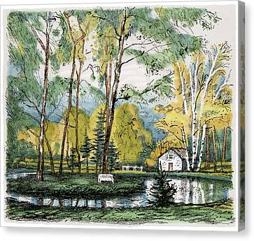 Old Europe In Stone Lithography. Golden Autumn Birch Foliage And Trees On Little Pond Island In Park Canvas Print by Elena Abdulaeva