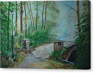 Canvas Print featuring the painting Memory Bridge by Leslie Allen