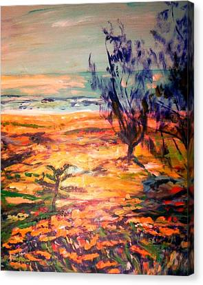 Canvas Print featuring the painting Memory Pandanus by Winsome Gunning