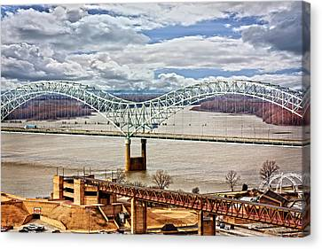 Memphis Bridge Hdr Canvas Print by Suzanne Barber